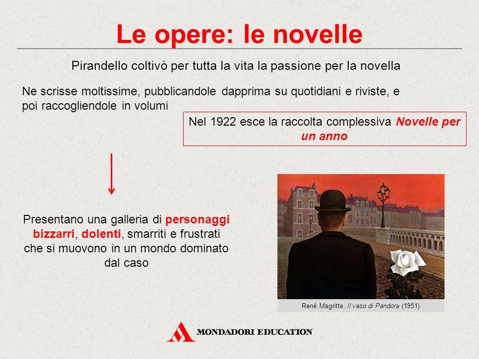 Le opere: le novelle Pirandello coltivò per tutta la vita la passione per la novella.