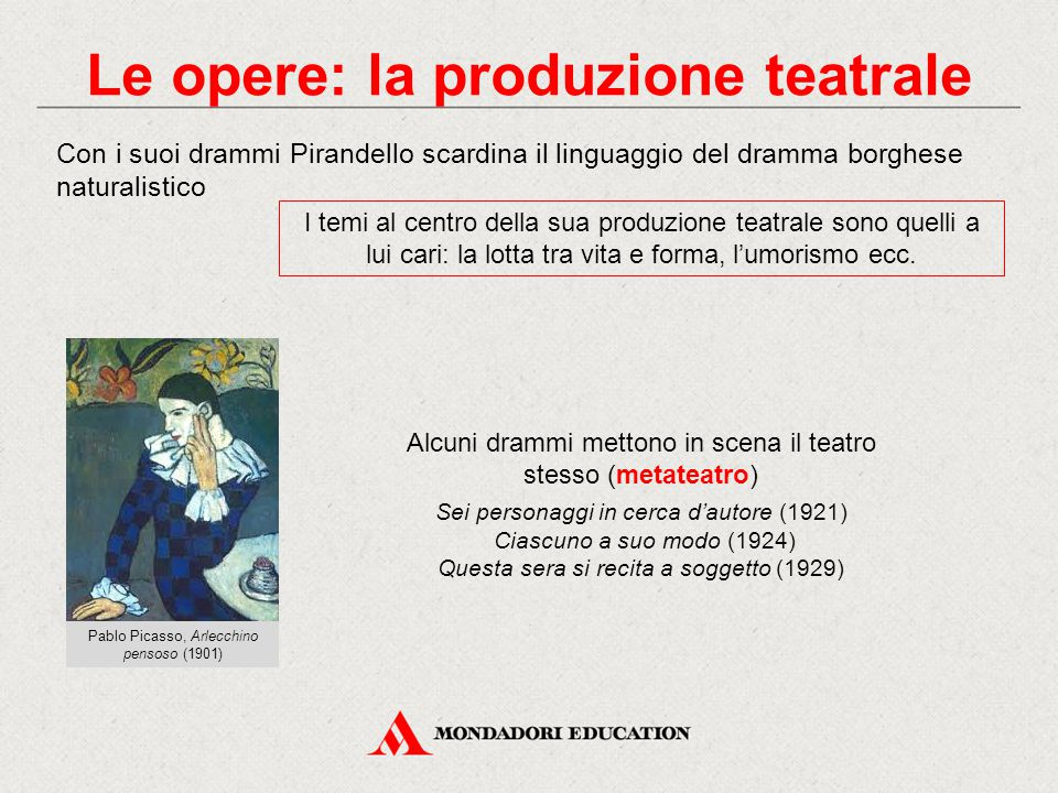 Le opere: la produzione teatrale