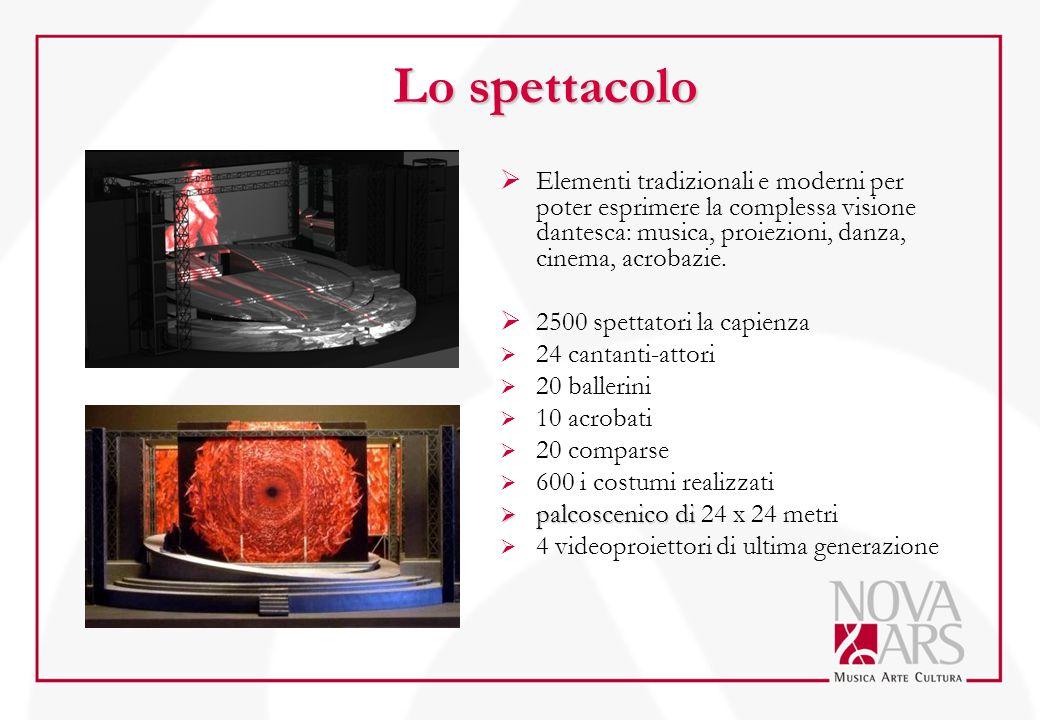 Lo spettacolo Elementi tradizionali e moderni per poter esprimere la complessa visione dantesca: musica, proiezioni, danza, cinema, acrobazie.