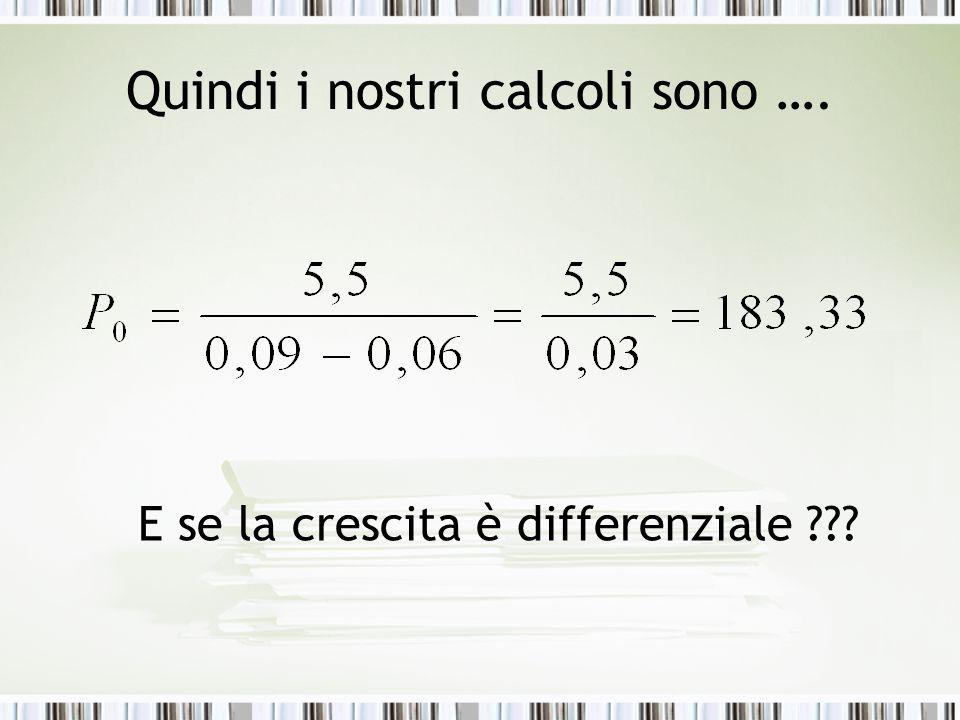 Quindi i nostri calcoli sono ….