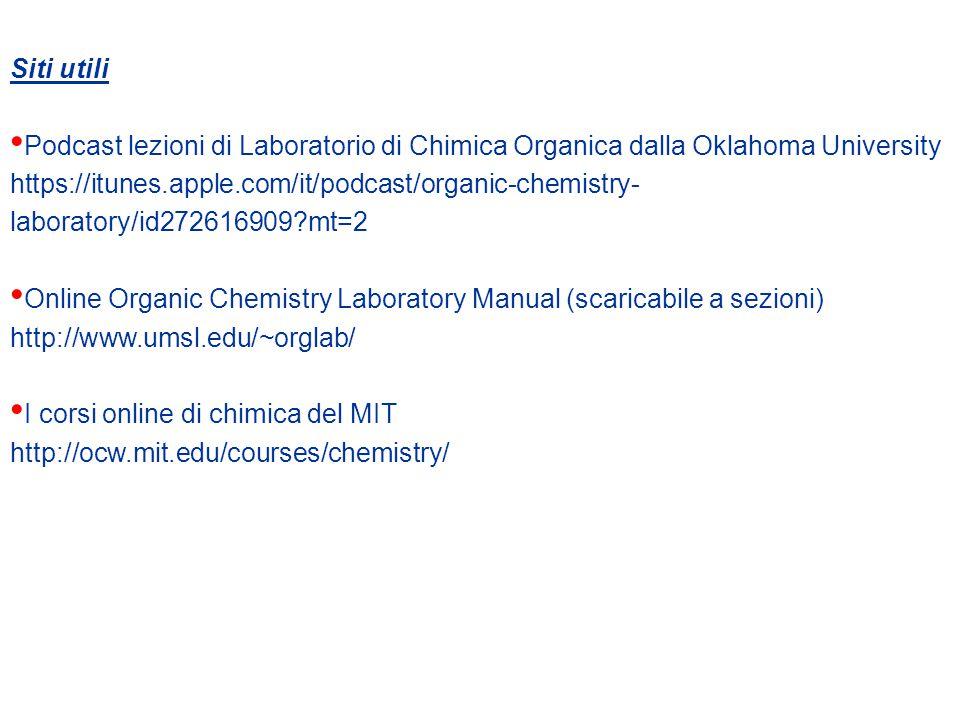 Siti utili Podcast lezioni di Laboratorio di Chimica Organica dalla Oklahoma University.