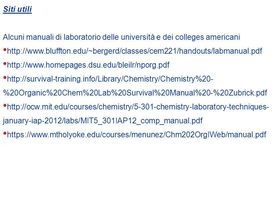 Siti utili Alcuni manuali di laboratorio delle università e dei colleges americani.