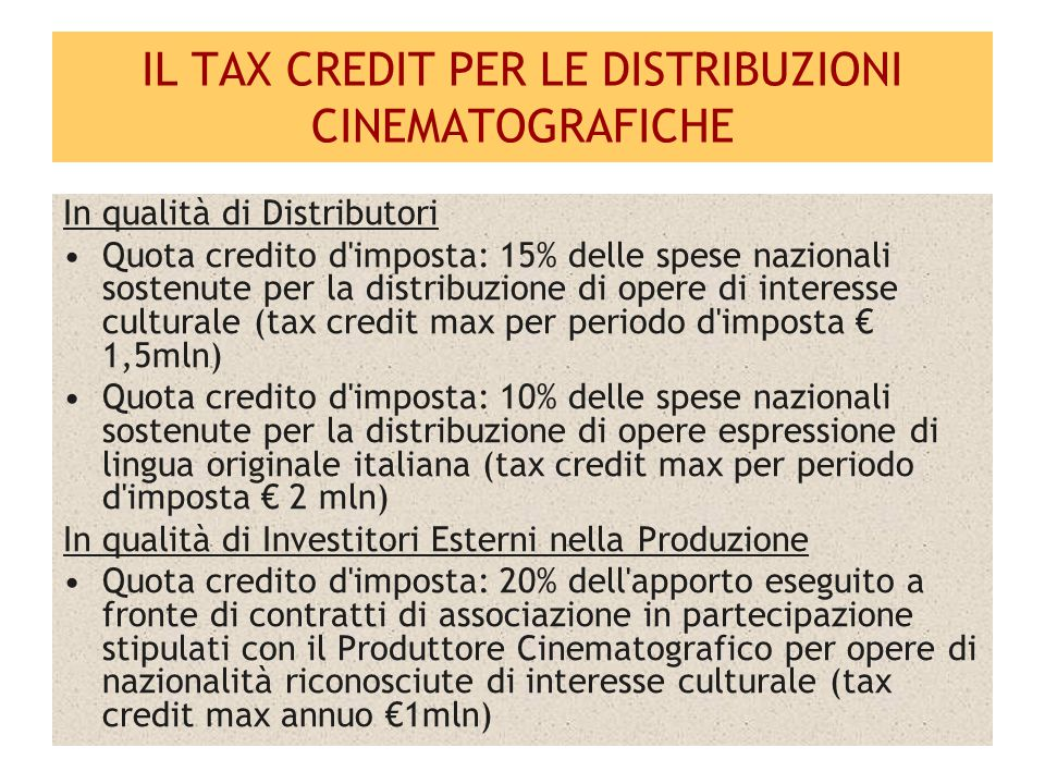 IL TAX CREDIT PER LE DISTRIBUZIONI CINEMATOGRAFICHE