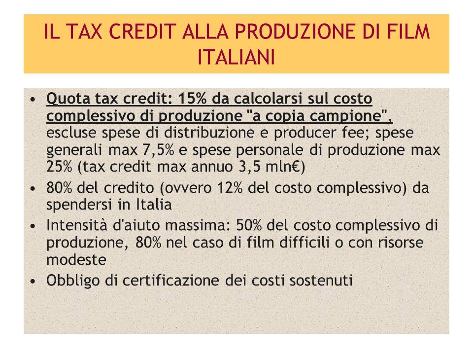 IL TAX CREDIT ALLA PRODUZIONE DI FILM ITALIANI