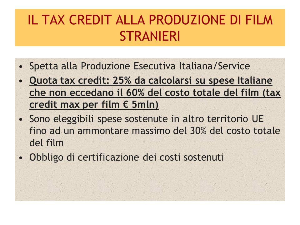 IL TAX CREDIT ALLA PRODUZIONE DI FILM STRANIERI