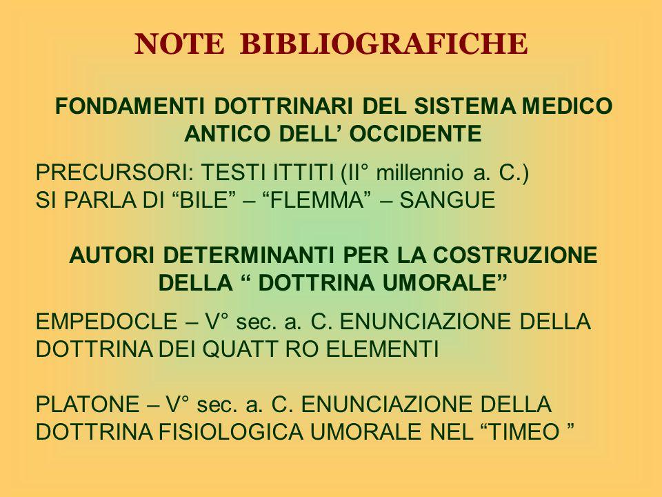 NOTE BIBLIOGRAFICHE FONDAMENTI DOTTRINARI DEL SISTEMA MEDICO