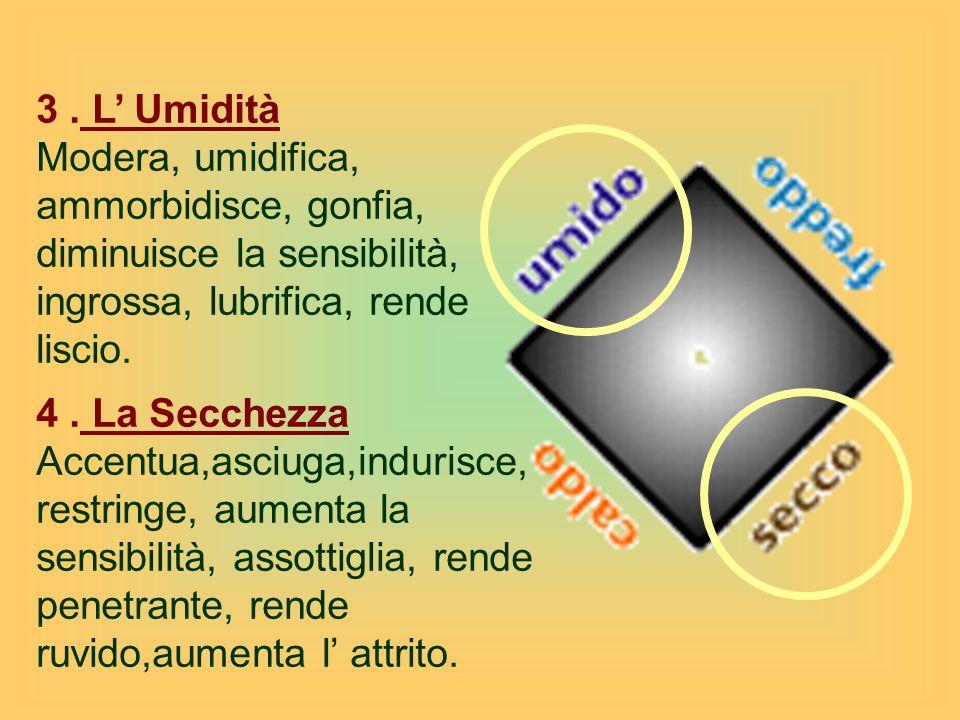 3 . L' Umidità Modera, umidifica, ammorbidisce, gonfia, diminuisce la sensibilità, ingrossa, lubrifica, rende liscio.