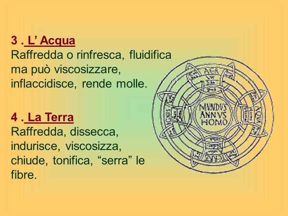 3 . L' Acqua Raffredda o rinfresca, fluidifica ma può viscosizzare, inflaccidisce, rende molle. 4 . La Terra.