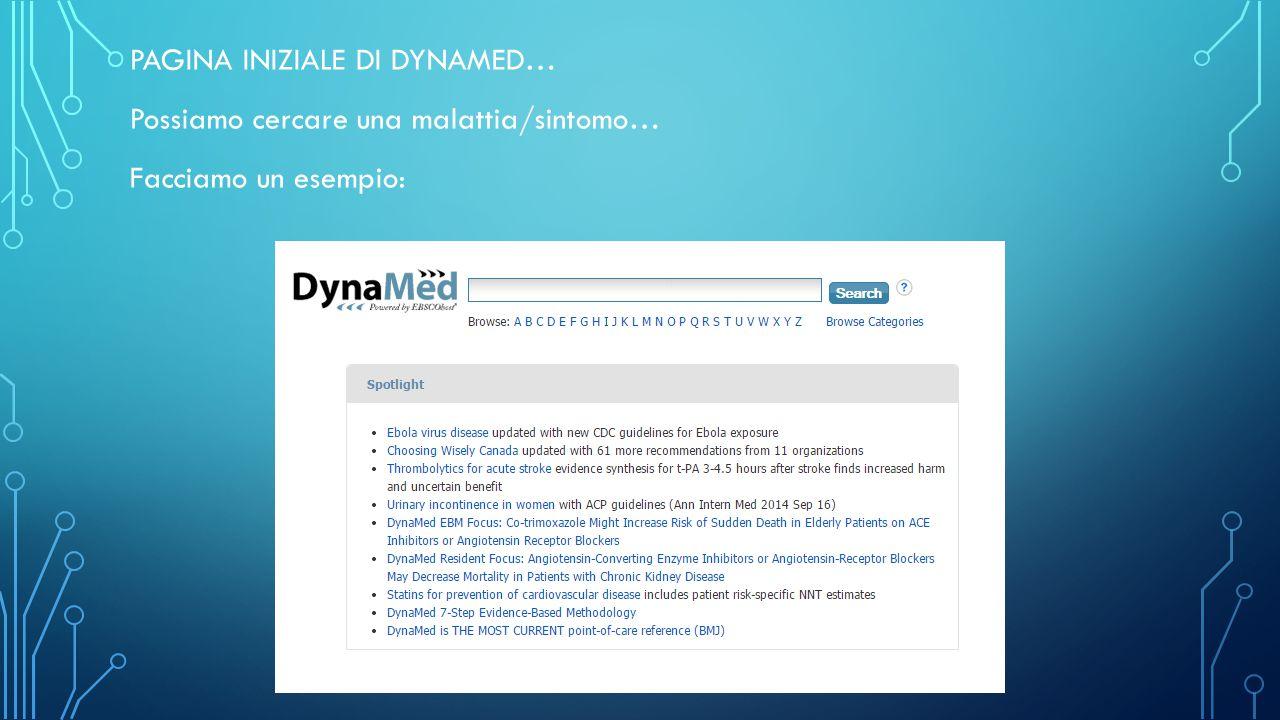 PAGINA INIZIALE DI DYNAMED… Possiamo cercare una malattia/sintomo… Facciamo un esempio: