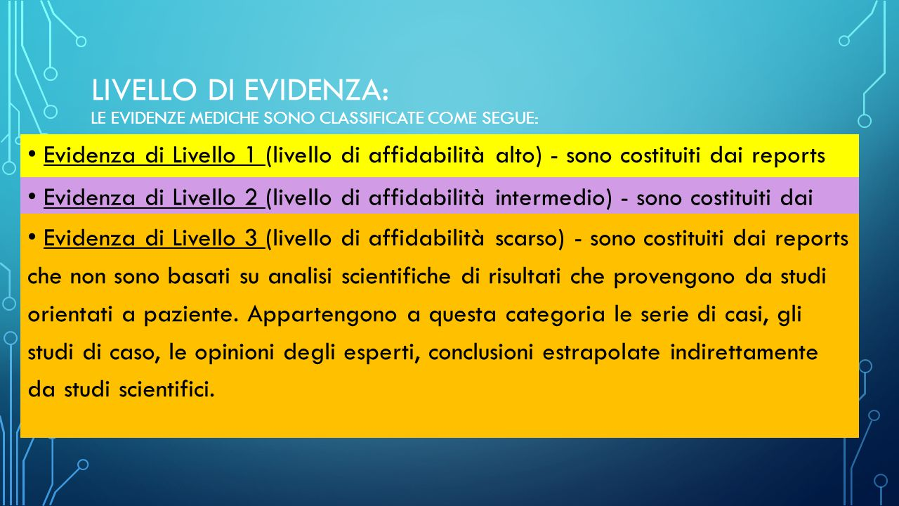 livello di evidenza: Le evidenze mediche sono classificate come segue: