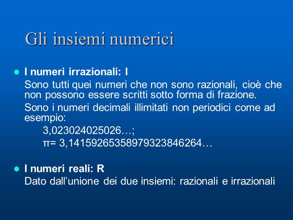 Gli insiemi numerici I numeri irrazionali: I