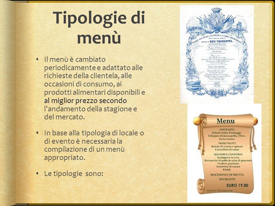 Tipologie di menù