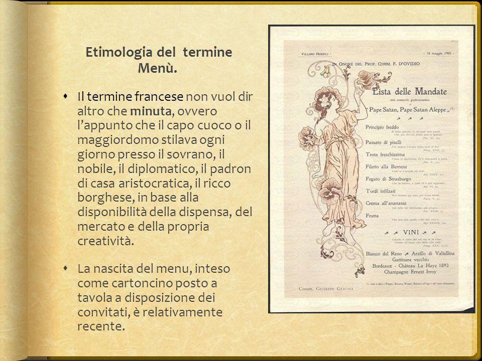 Etimologia del termine Menù.