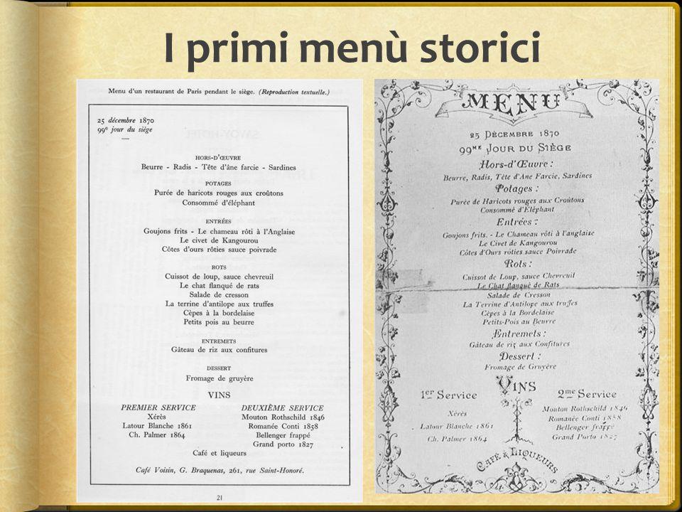 I primi menù storici
