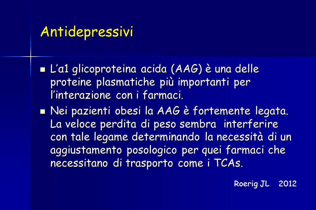 Antidepressivi L'α1 glicoproteina acida (AAG) è una delle proteine plasmatiche più importanti per l'interazione con i farmaci.