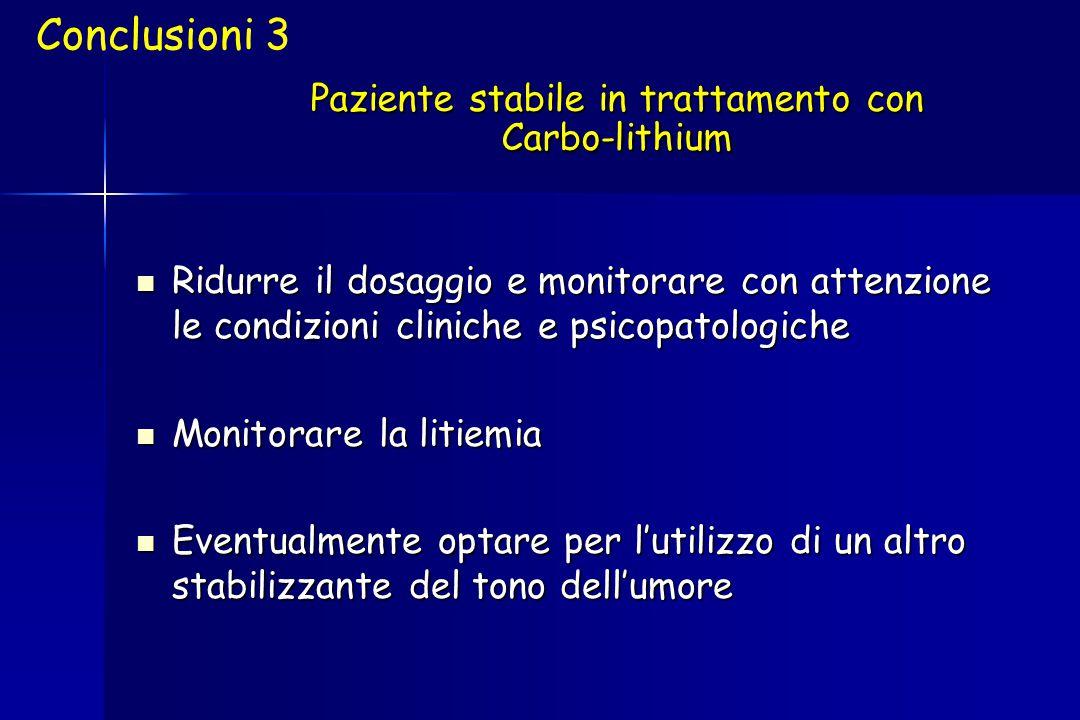 Paziente stabile in trattamento con Carbo-lithium