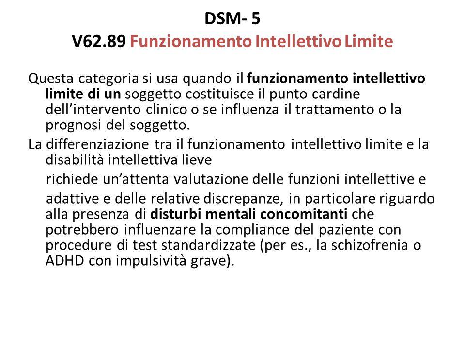 DSM- 5 V62.89 Funzionamento Intellettivo Limite