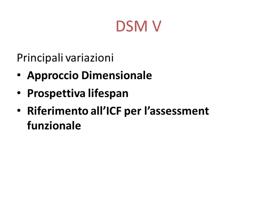 DSM V Principali variazioni Approccio Dimensionale