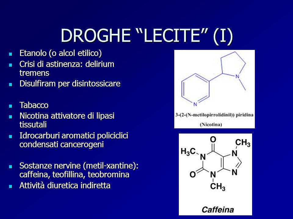 DROGHE LECITE (I) Etanolo (o alcol etilico)