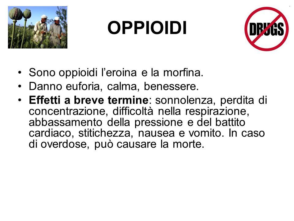 OPPIOIDI Sono oppioidi l'eroina e la morfina.