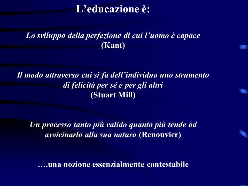 L'educazione è: Lo sviluppo della perfezione di cui l'uomo è capace (Kant) Il modo attraverso cui si fa dell'individuo uno strumento di felicità per sé e per gli altri (Stuart Mill) Un processo tanto più valido quanto più tende ad avvicinarlo alla sua natura (Renouvier) ….una nozione essenzialmente contestabile