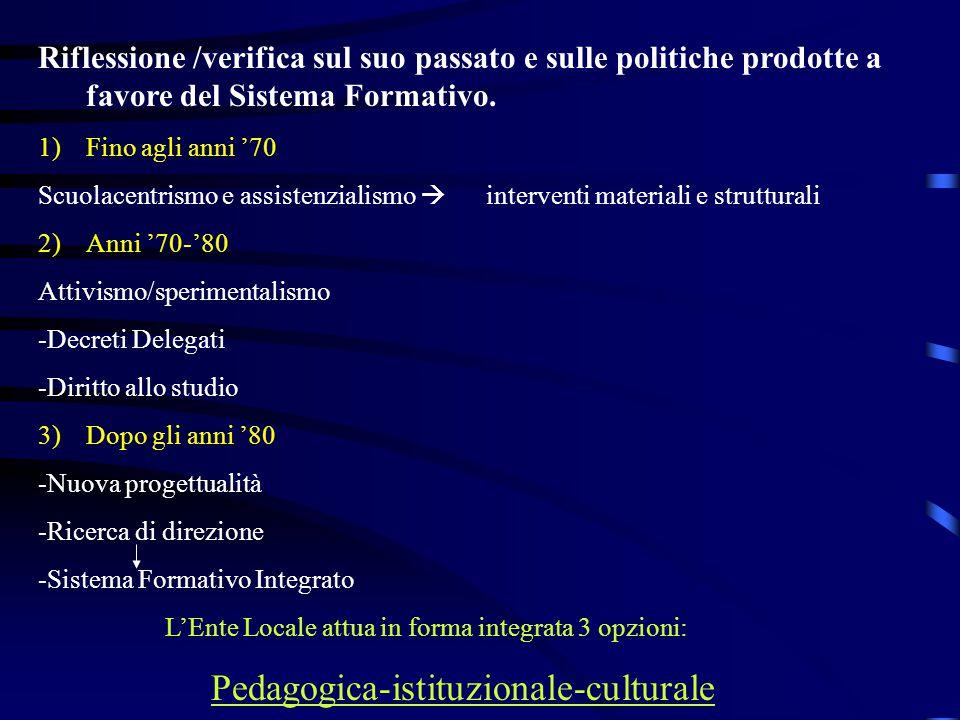 Riflessione /verifica sul suo passato e sulle politiche prodotte a favore del Sistema Formativo.