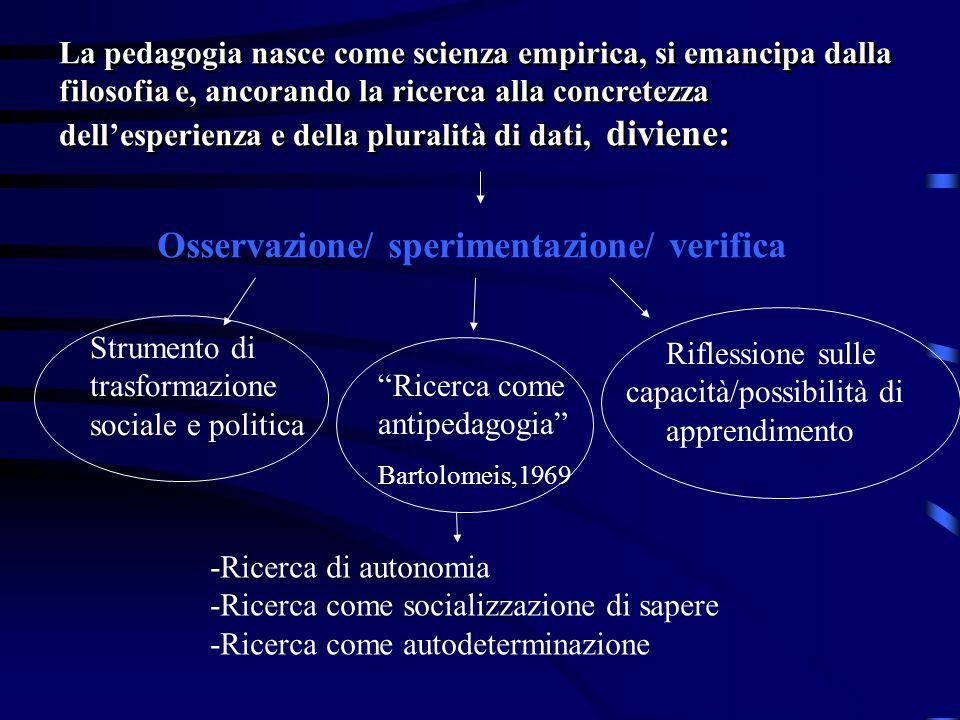 Osservazione/ sperimentazione/ verifica