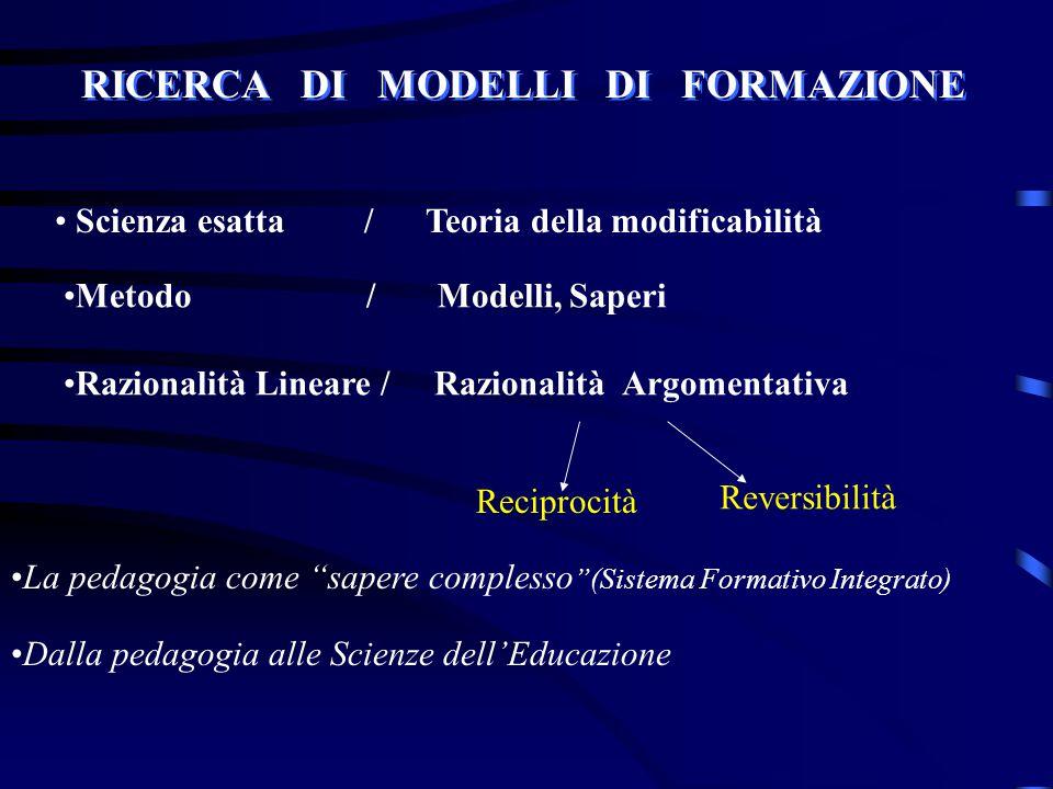 RICERCA DI MODELLI DI FORMAZIONE