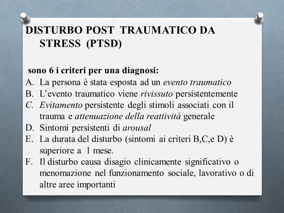 DISTURBO POST TRAUMATICO DA STRESS (PTSD)