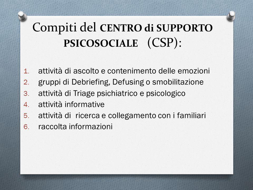 Compiti del CENTRO di SUPPORTO PSICOSOCIALE (CSP):