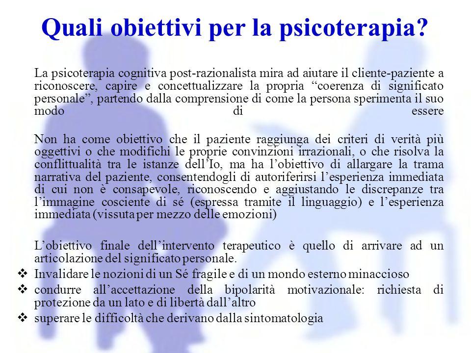 Quali obiettivi per la psicoterapia