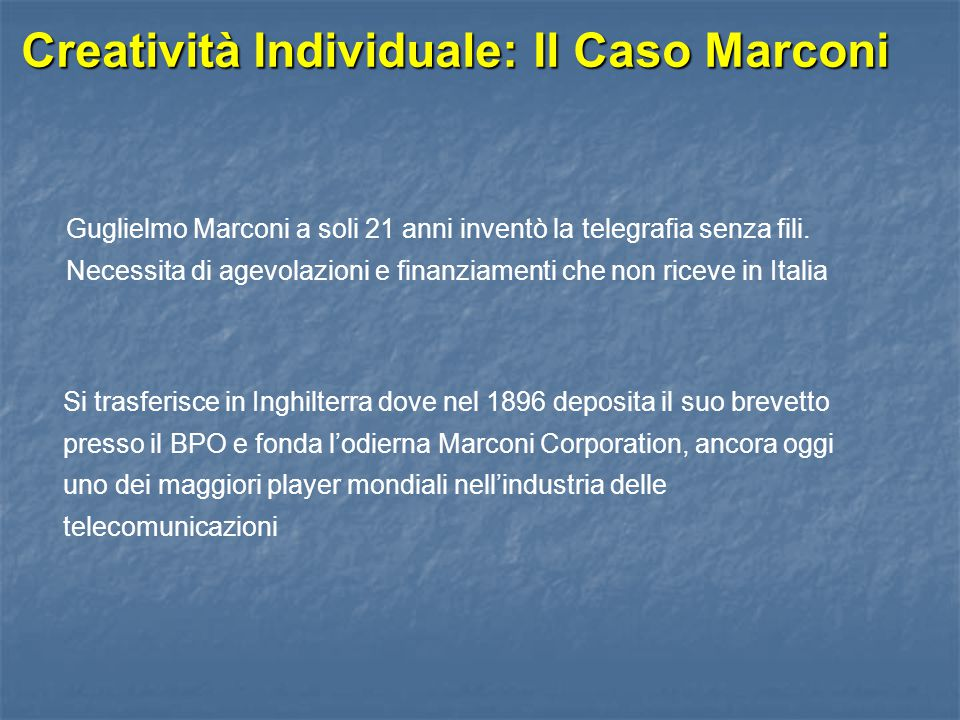 Creatività Individuale: Il Caso Marconi