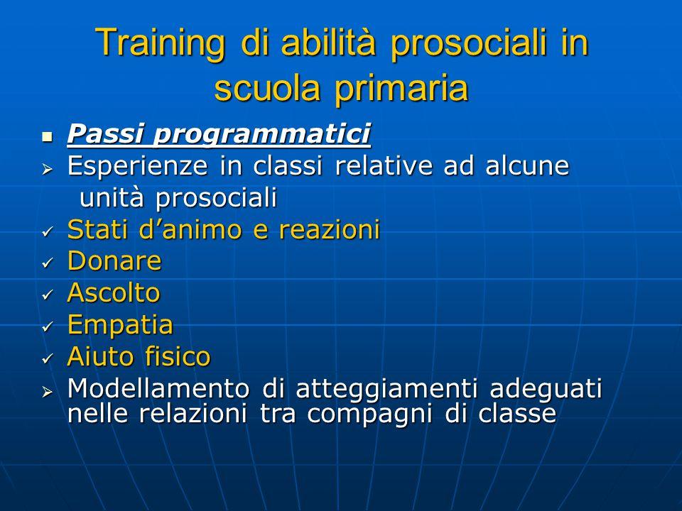 Training di abilità prosociali in scuola primaria
