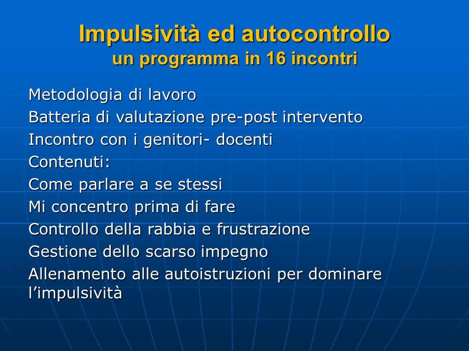 Impulsività ed autocontrollo un programma in 16 incontri