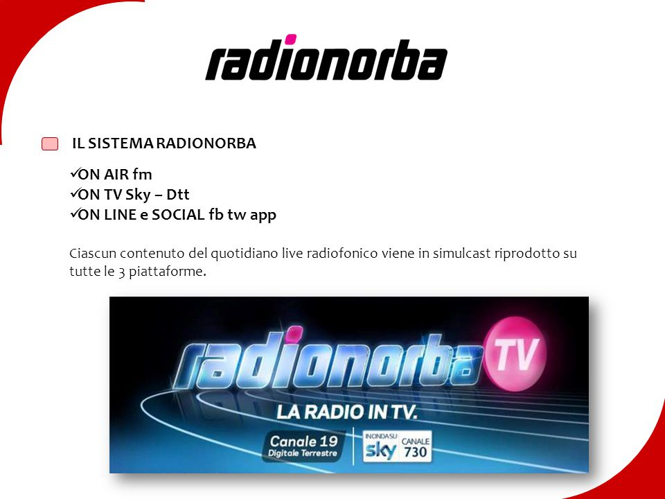 Radionorba IL SISTEMA RADIONORBA ON AIR fm ON TV Sky – Dtt