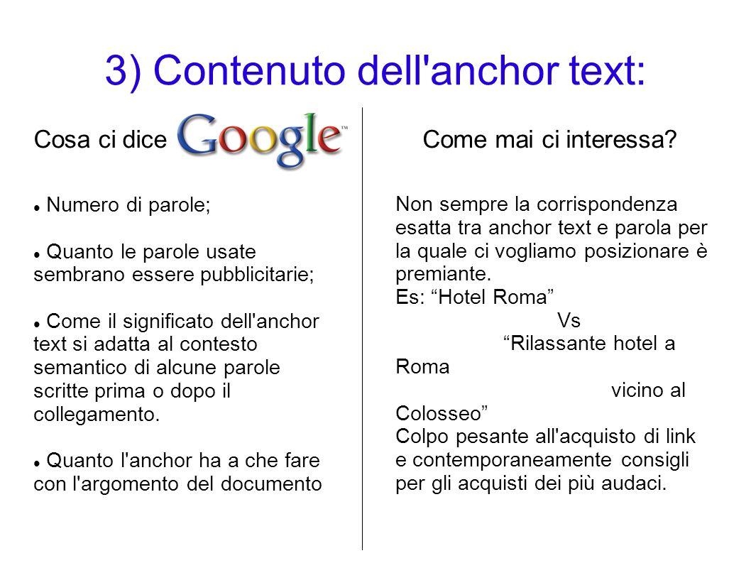 3) Contenuto dell anchor text: