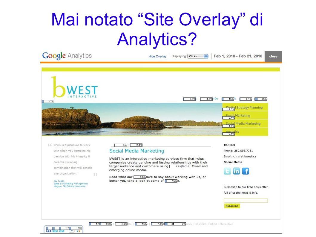 Mai notato Site Overlay di Analytics