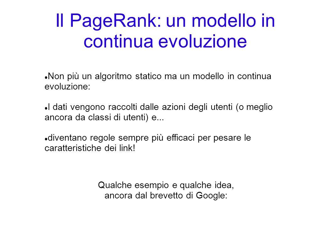 Il PageRank: un modello in continua evoluzione