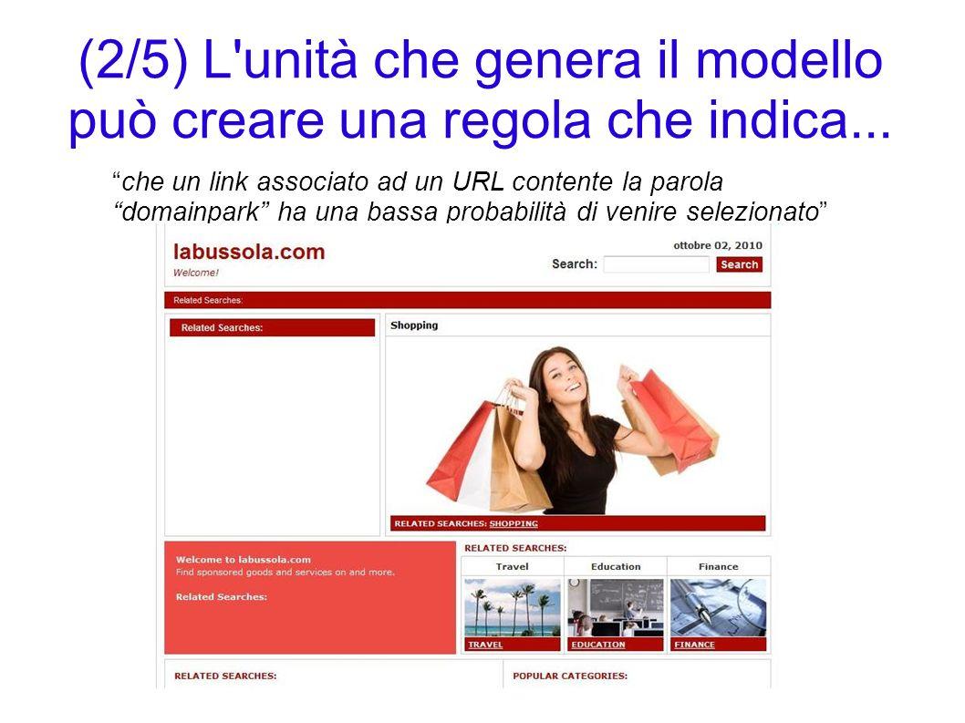 (2/5) L unità che genera il modello può creare una regola che indica...