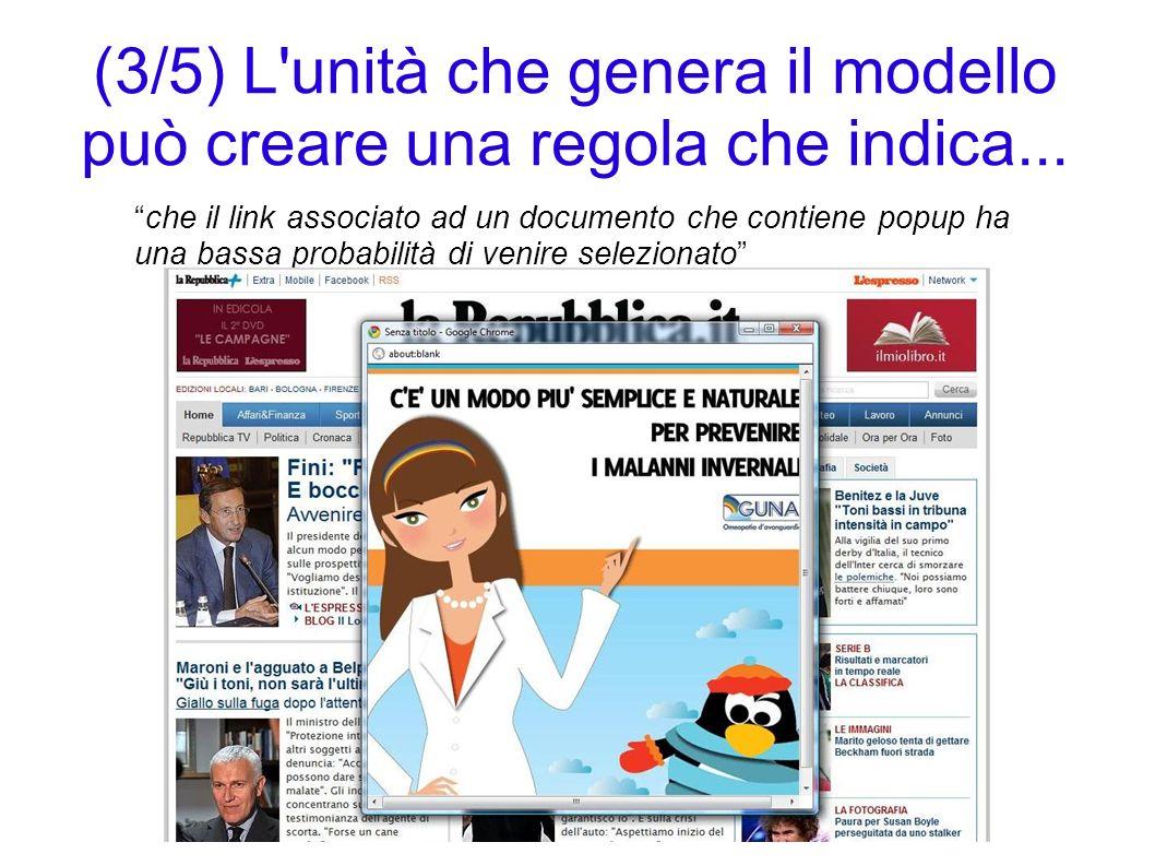 (3/5) L unità che genera il modello può creare una regola che indica...