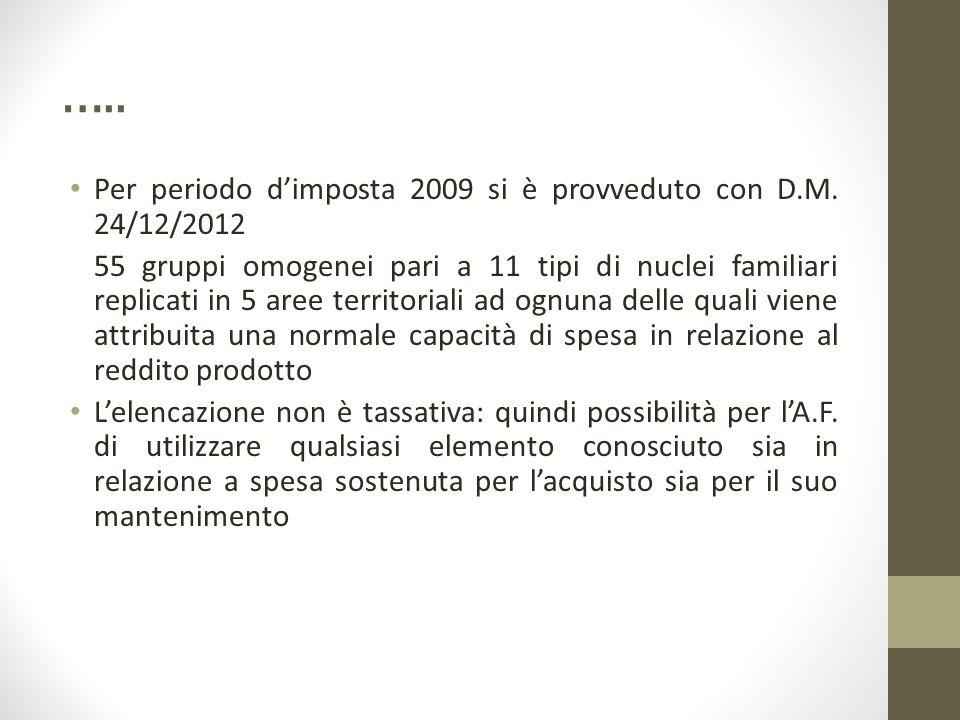 ….. Per periodo d'imposta 2009 si è provveduto con D.M. 24/12/2012