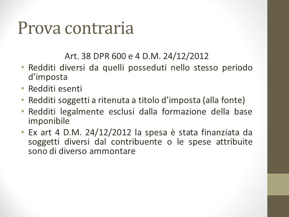 Prova contraria Art. 38 DPR 600 e 4 D.M. 24/12/2012