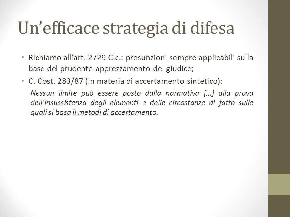 Un'efficace strategia di difesa