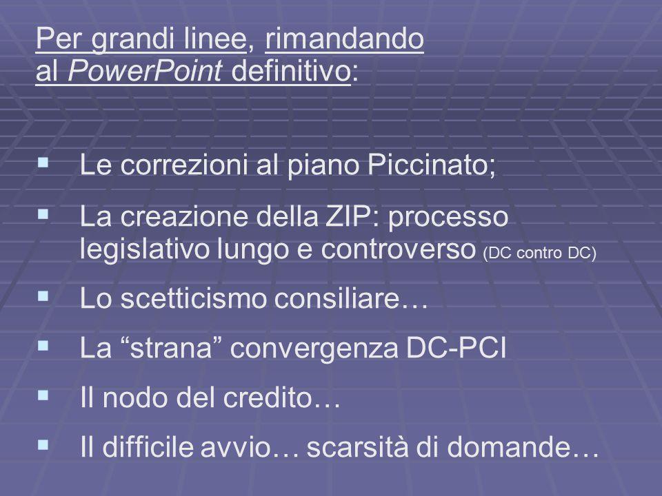 Per grandi linee, rimandando al PowerPoint definitivo: