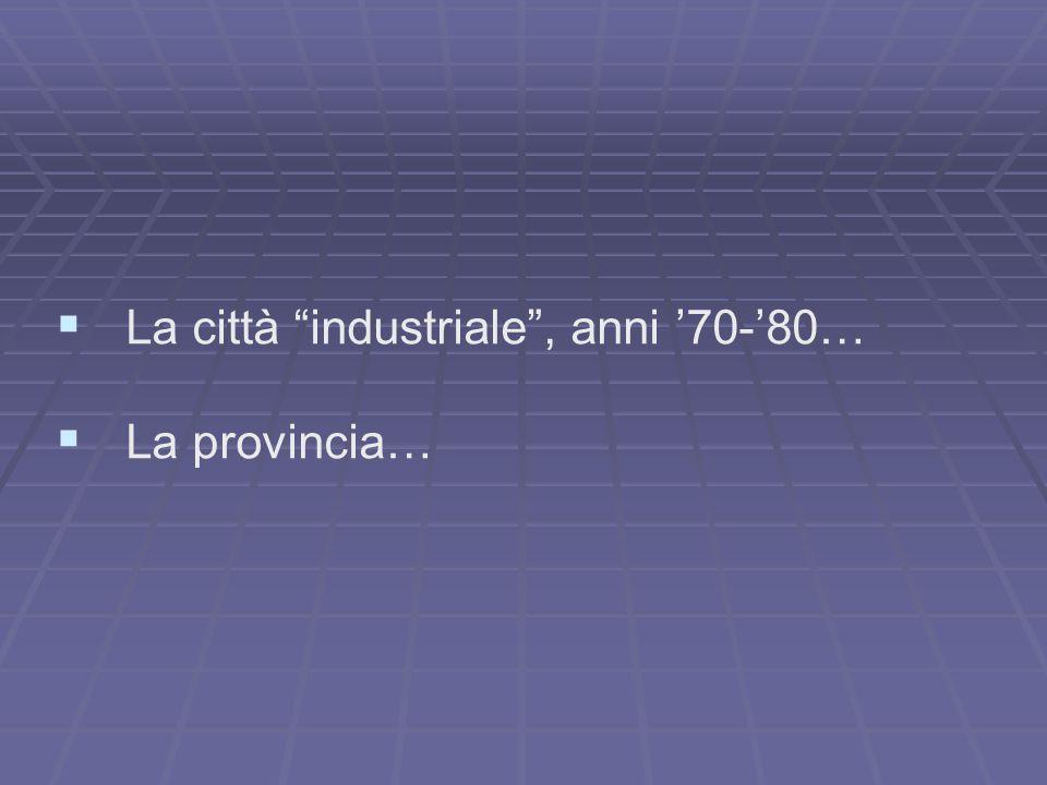 La città industriale , anni '70-'80… La provincia…