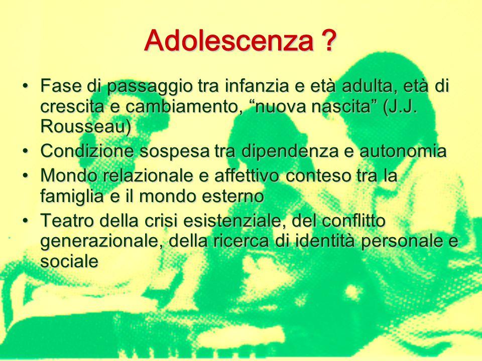 Adolescenza Fase di passaggio tra infanzia e età adulta, età di crescita e cambiamento, nuova nascita (J.J. Rousseau)
