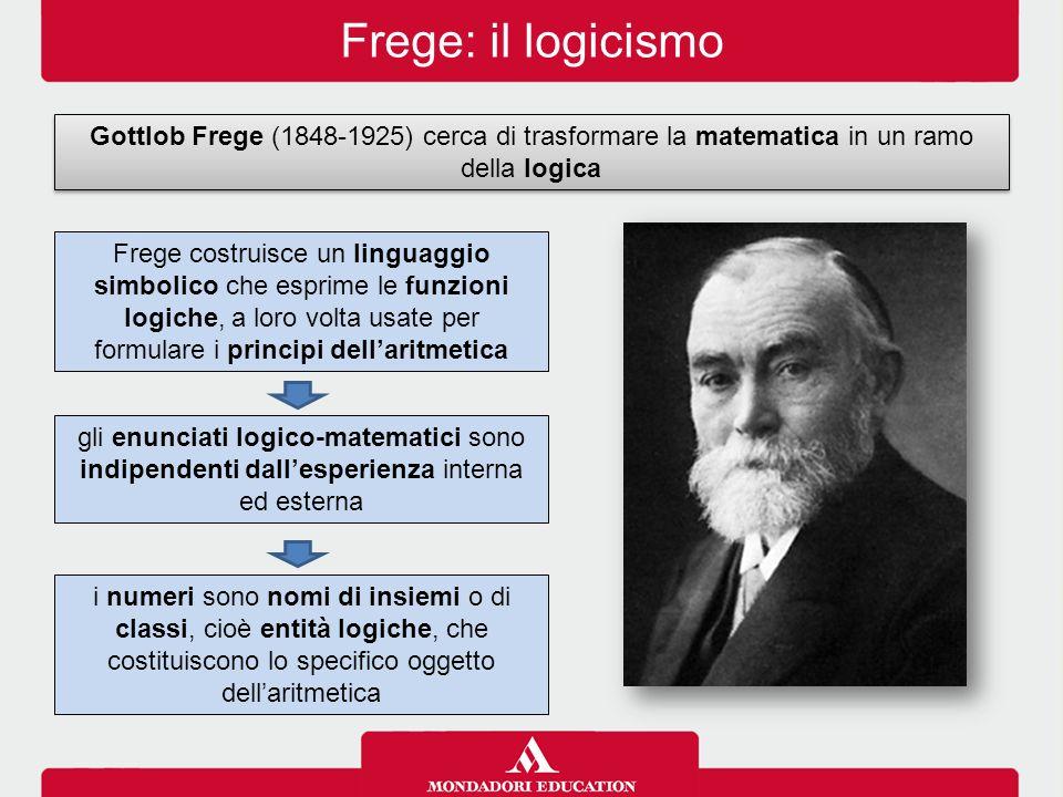 Frege: il logicismo Gottlob Frege (1848-1925) cerca di trasformare la matematica in un ramo della logica.