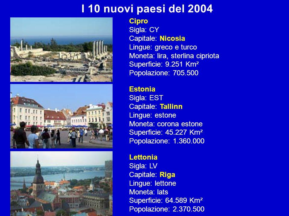 I 10 nuovi paesi del 2004