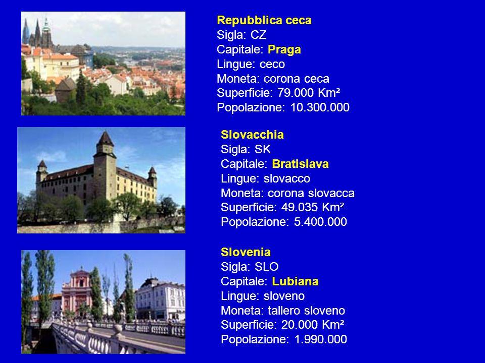 Repubblica ceca Sigla: CZ Capitale: Praga Lingue: ceco Moneta: corona ceca Superficie: 79.000 Km² Popolazione: 10.300.000