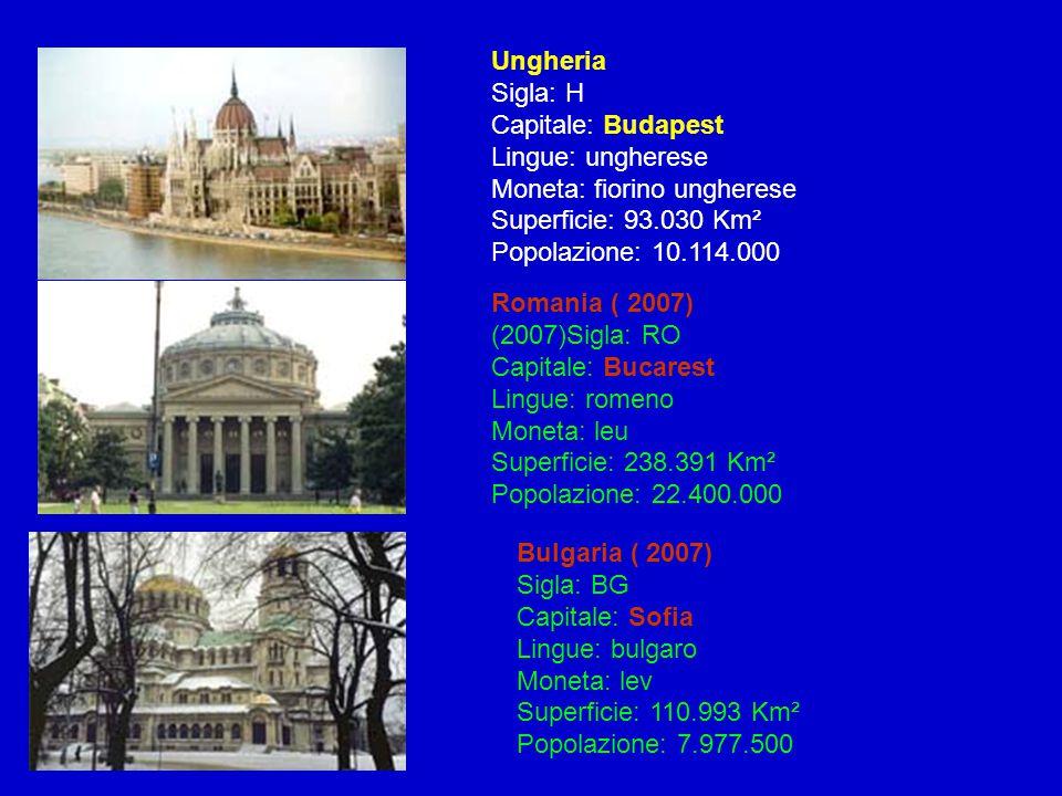 Ungheria Sigla: H Capitale: Budapest Lingue: ungherese Moneta: fiorino ungherese Superficie: 93.030 Km² Popolazione: 10.114.000